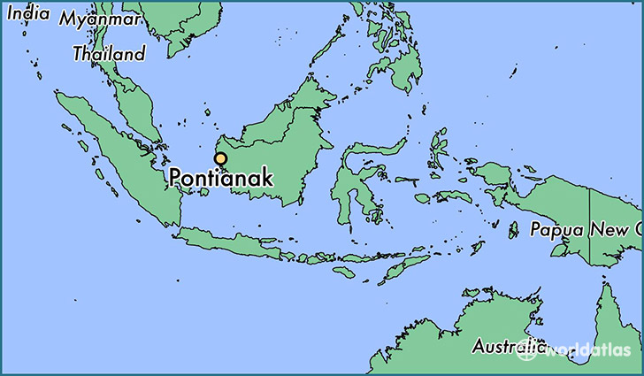 map showing the location of Pontianak