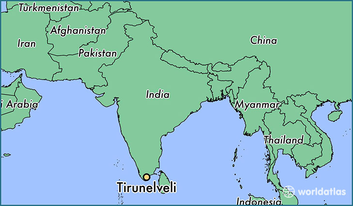 map showing the location of Tirunelveli