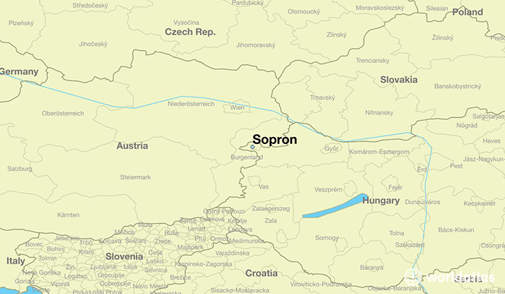 map showing the location of Sopron