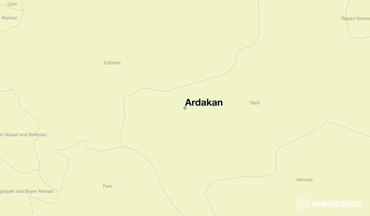 map showing the location of Ardakan