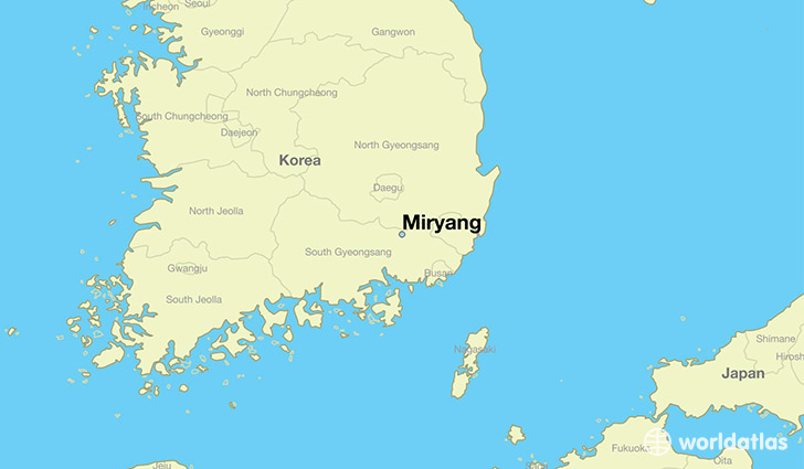 map showing the location of Miryang