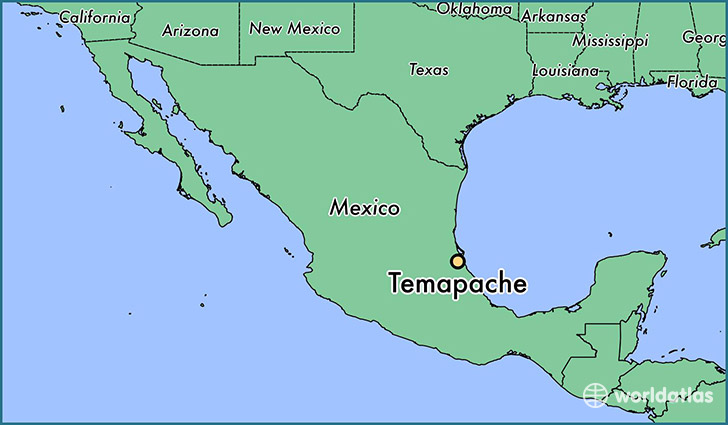 map showing the location of Temapache