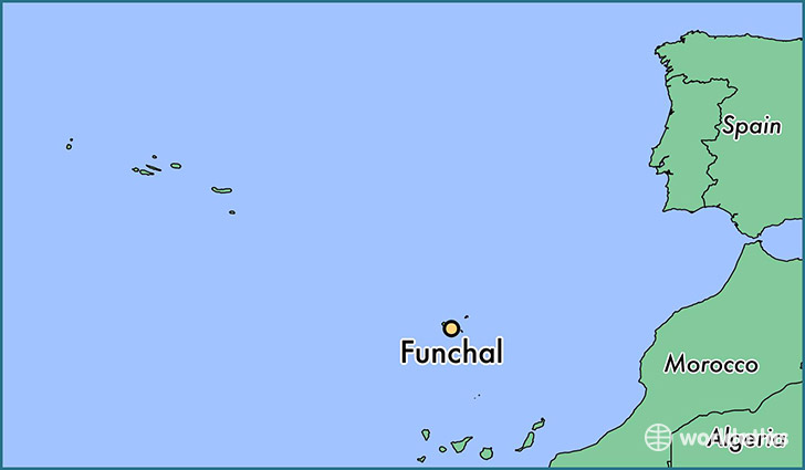 map showing the location of Funchal