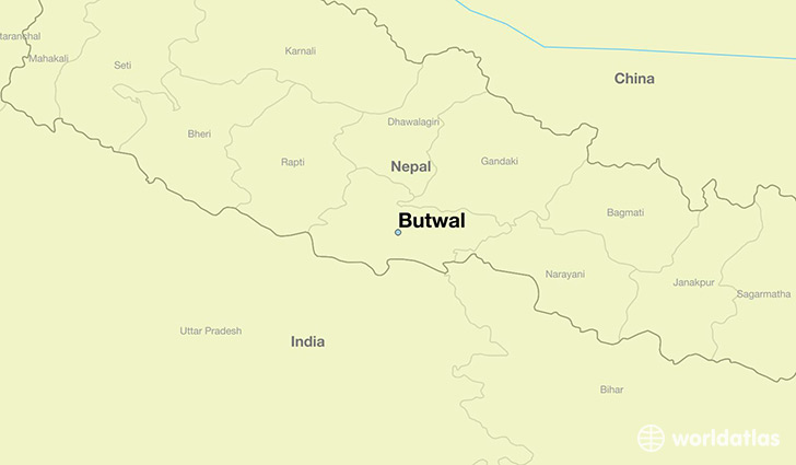 map showing the location of Butwal