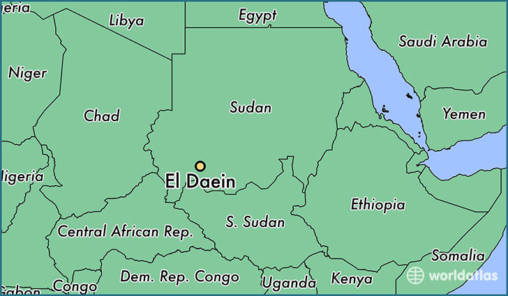 map showing the location of El Daein