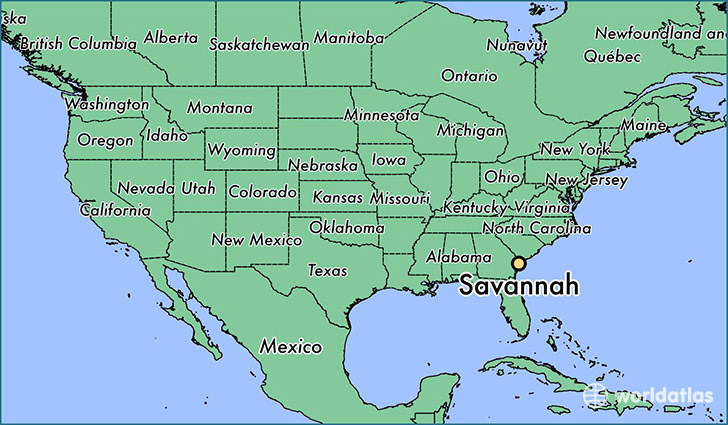 map showing the location of Savannah