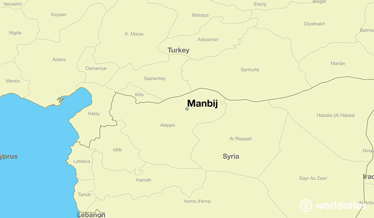 map showing the location of Manbij