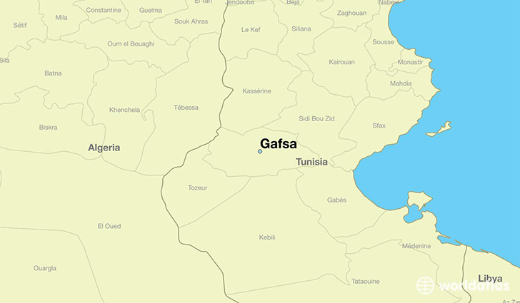 map showing the location of Gafsa