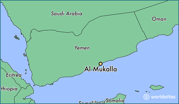 map showing the location of Al Mukalla