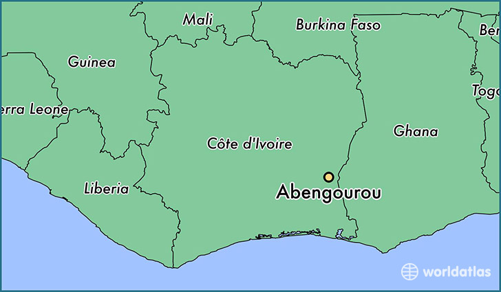 map showing the location of Abengourou