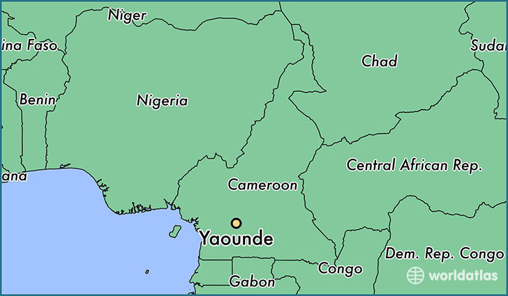 map showing the location of Yaounde