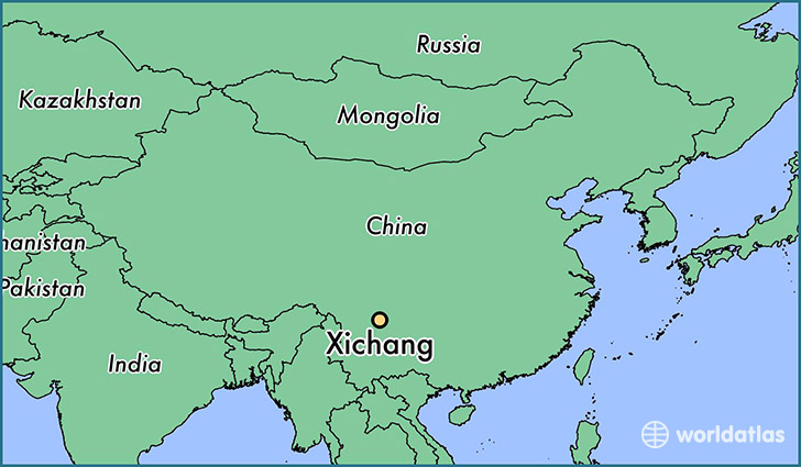 map showing the location of Xichang