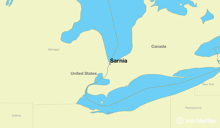 map showing the location of Sarnia
