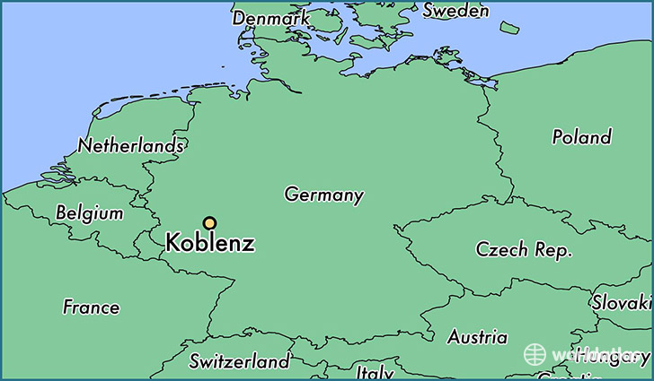 map showing the location of Koblenz