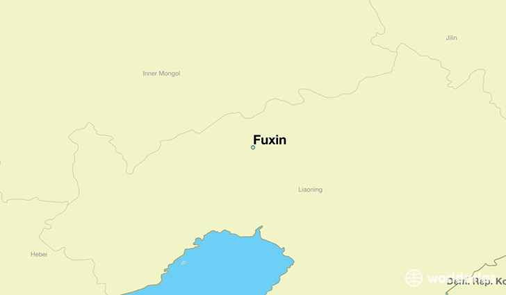 map showing the location of Fuxin