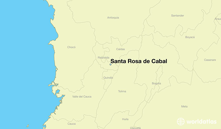 map showing the location of Santa Rosa de Cabal