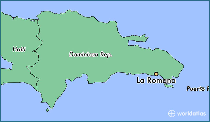 map showing the location of La Romana