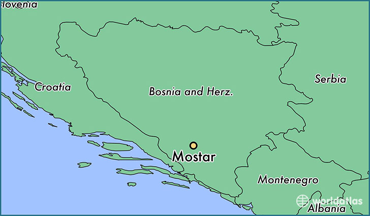 map showing the location of Mostar