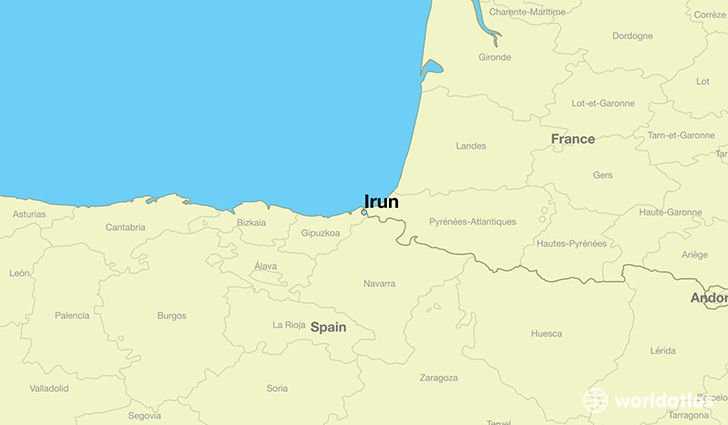 Where is Irun Spain Irun Basque Country Map WorldAtlascom