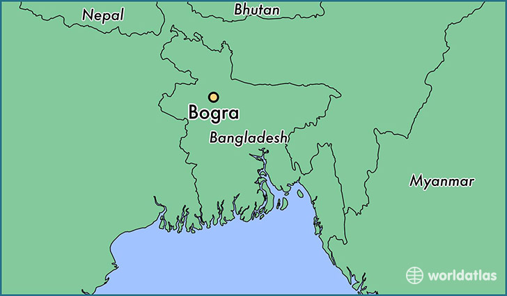 map showing the location of Bogra