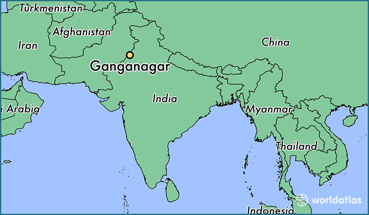 map showing the location of Ganganagar