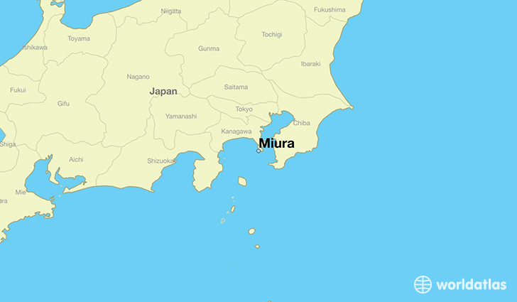map showing the location of Miura