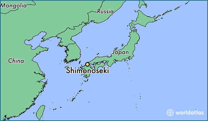 map showing the location of Shimonoseki