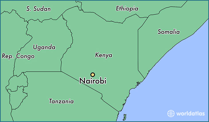 Where is nairobi kenya nairobi nairobi area map worldatlas map showing the location of nairobi gumiabroncs Gallery