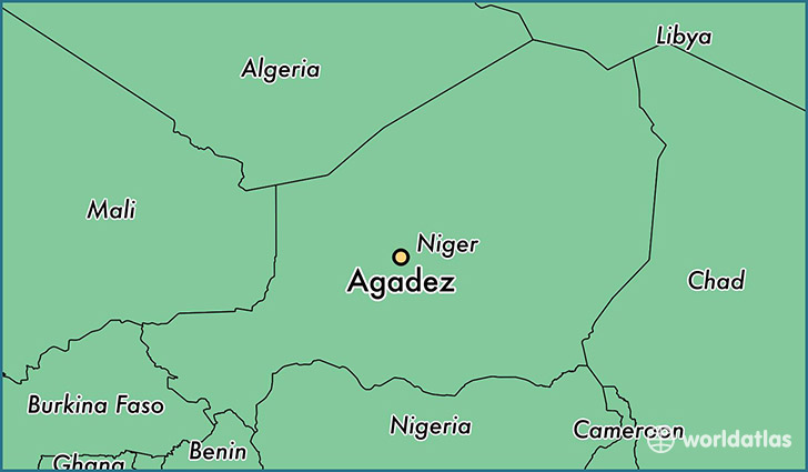 map showing the location of Agadez