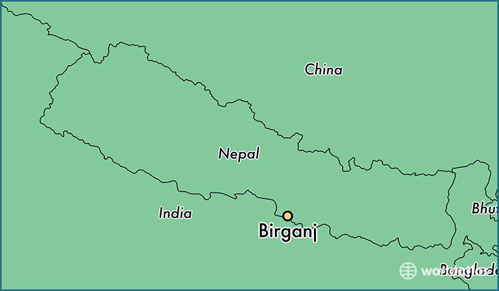 map showing the location of Birganj
