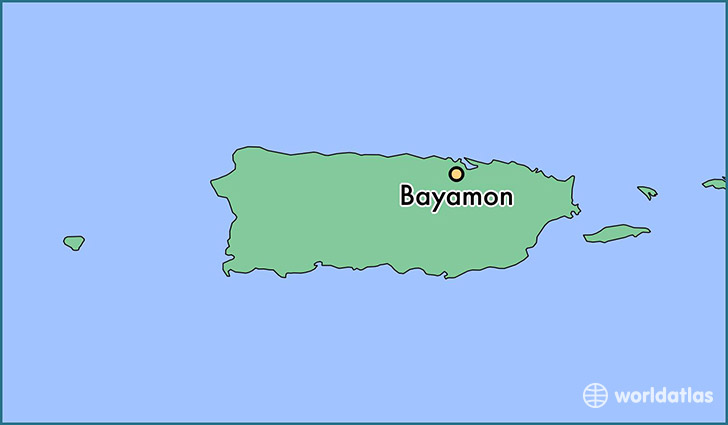 map showing the location of Bayamon