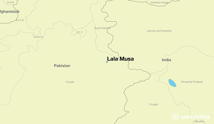 map showing the location of Lala Musa