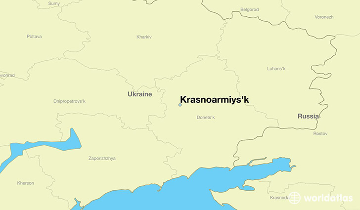map showing the location of Krasnoarmiys'k