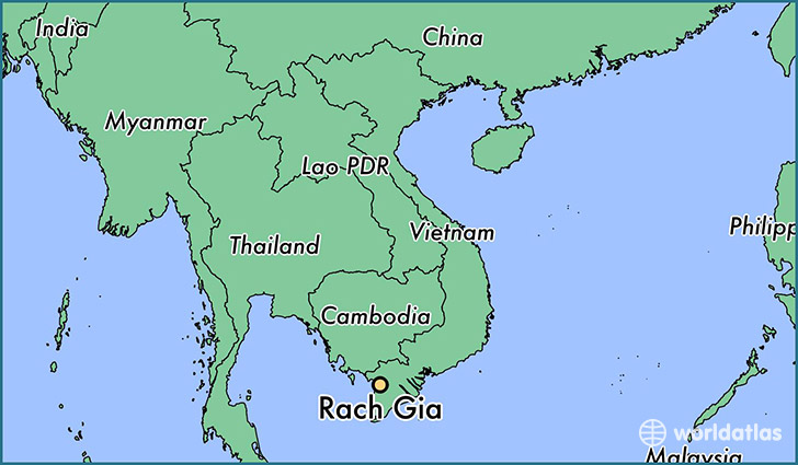 map showing the location of Rach Gia