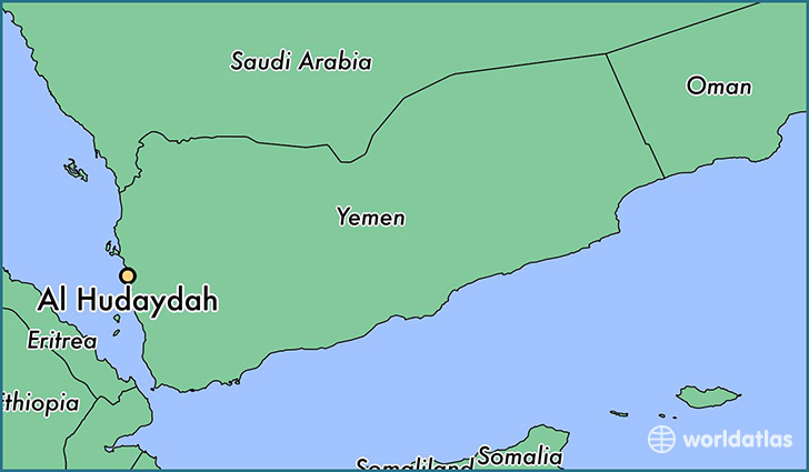 map showing the location of Al Hudaydah