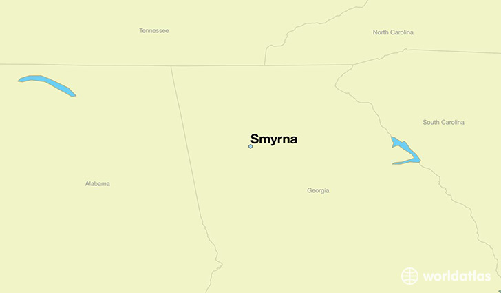 map showing the location of Smyrna