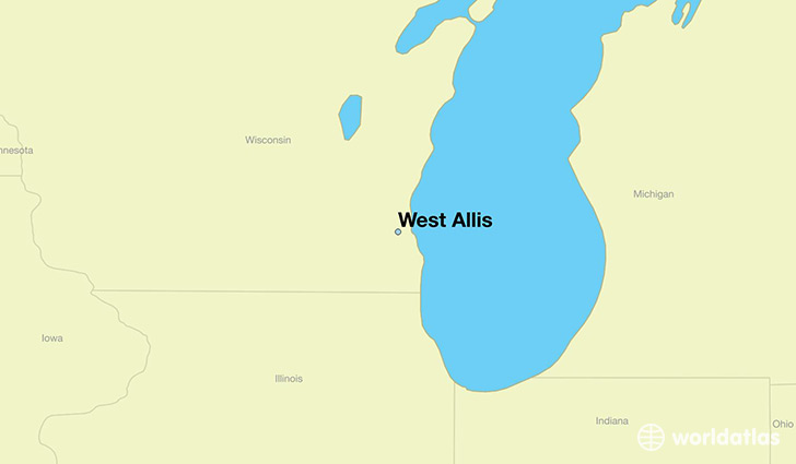 map showing the location of West Allis