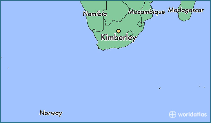 map showing the location of Kimberley