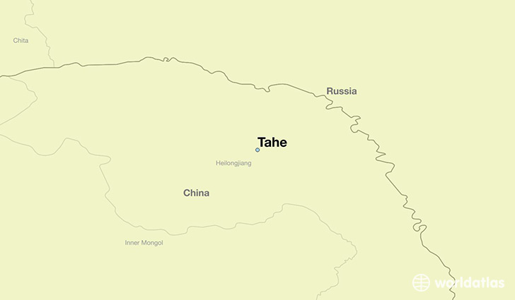 map showing the location of Tahe