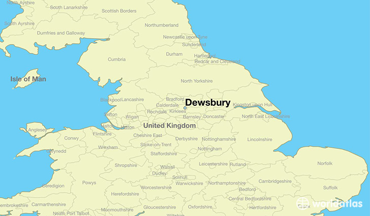 map showing the location of Dewsbury