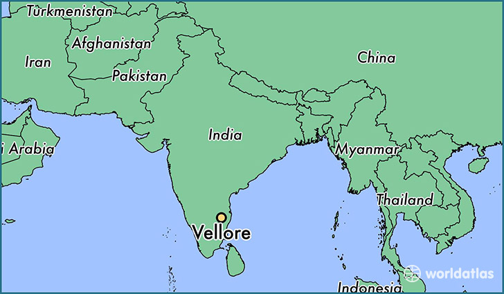map showing the location of Vellore