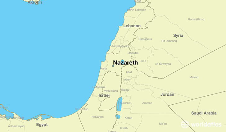 map showing the location of Nazareth