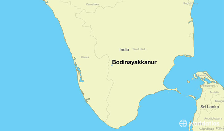 map showing the location of Bodinayakkanur