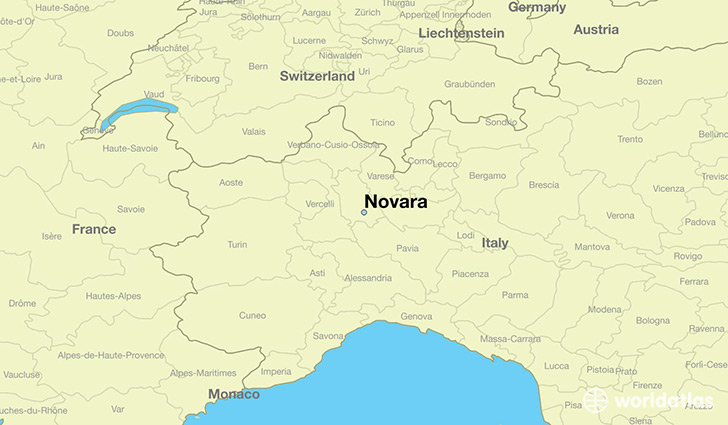 map showing the location of Novara