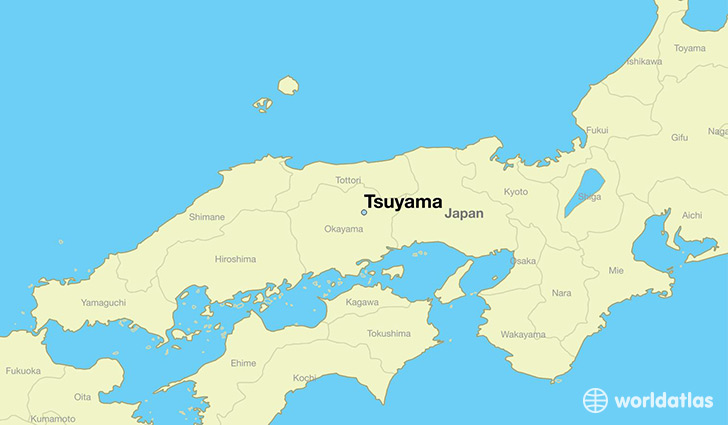 map showing the location of Tsuyama