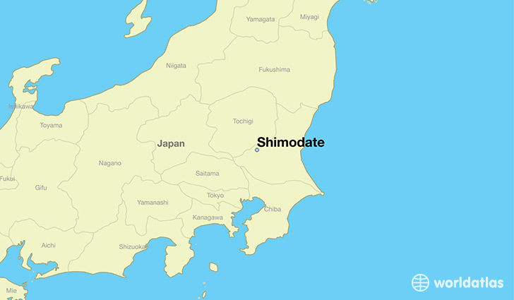 map showing the location of Shimodate