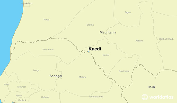 map showing the location of Kaedi