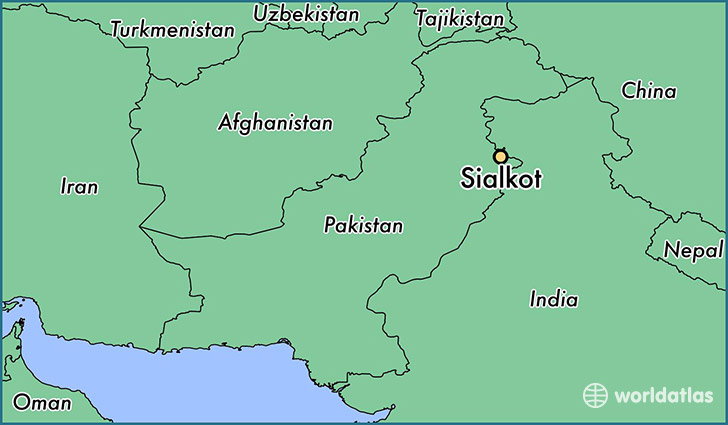 map showing the location of Sialkot