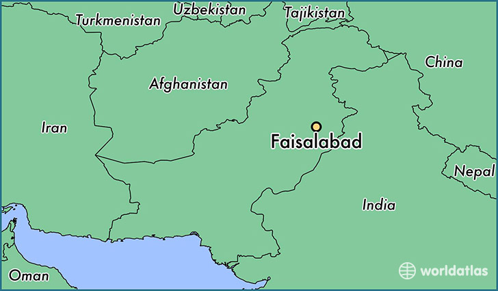 map showing the location of Faisalabad