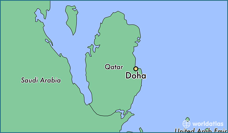 map showing the location of Doha